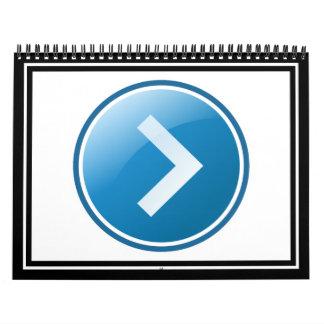 Botón azul de la flecha - derecho calendarios