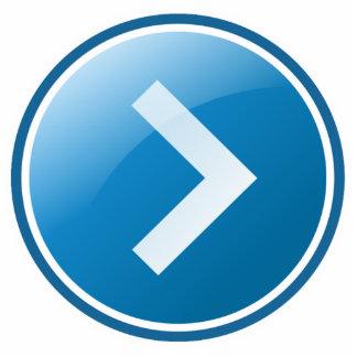 Botón azul de la flecha - derecho fotoescultura vertical