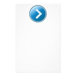 Botón azul de la flecha - derecho papeleria