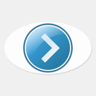Botón azul de la flecha - derecho calcomanía ovalada