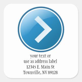 Botón azul de la flecha - derecho pegatina cuadrada