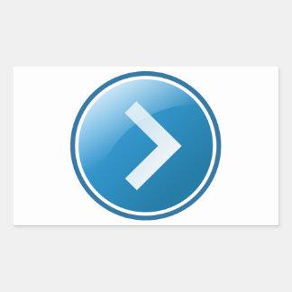 Botón azul de la flecha - derecho pegatina rectangular