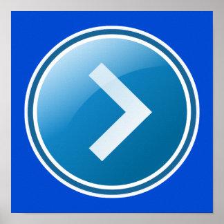 Botón azul de la flecha - derecho póster