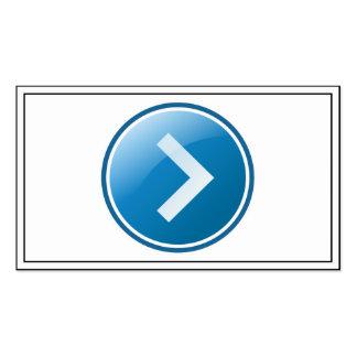 Botón azul de la flecha - derecho tarjetas de visita