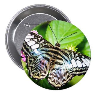 Botón azul de la mariposa de las podadoras pin redondo de 3 pulgadas