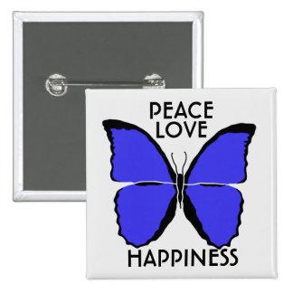 Botón azul de la mariposa del Amazonas de la Pin Cuadrado