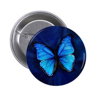 Botón azul de la mariposa pins