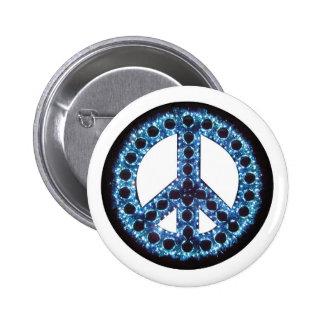 botón azul de la paz pin redondo de 2 pulgadas