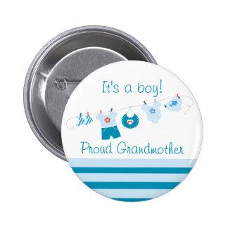 Botón azul de la ropa de la abuela orgullosa del pins