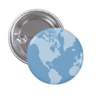 Botón azul de la tierra pin redondo de 1 pulgada