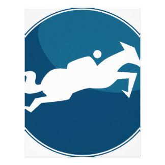 Botón azul de salto del icono de la raza del plantilla de membrete