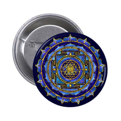 Botón azul de Yantra Pin Redondo De 2 Pulgadas