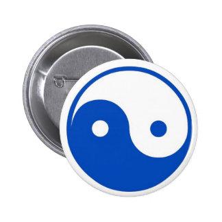 Botón azul de Yin-Yang Pin Redondo De 2 Pulgadas