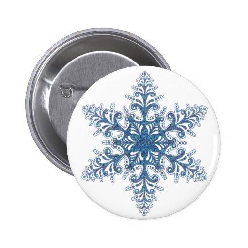 Botón azul del copo de nieve pins