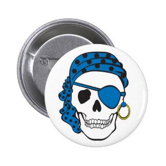 Botón azul del cráneo del pirata pins
