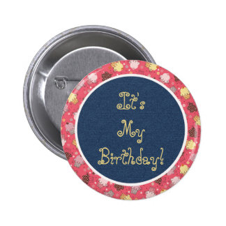 Botón azul del cumpleaños de las magdalenas del pin redondo de 2 pulgadas