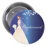 Botón azul del fiesta de la novia de la dama de ho pins