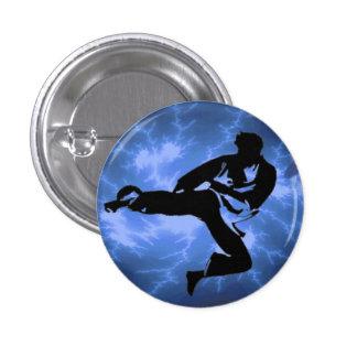 Botón azul del hombre del relámpago pin redondo de 1 pulgada