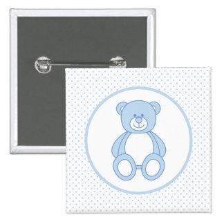 Botón azul del oso de peluche pin cuadrado