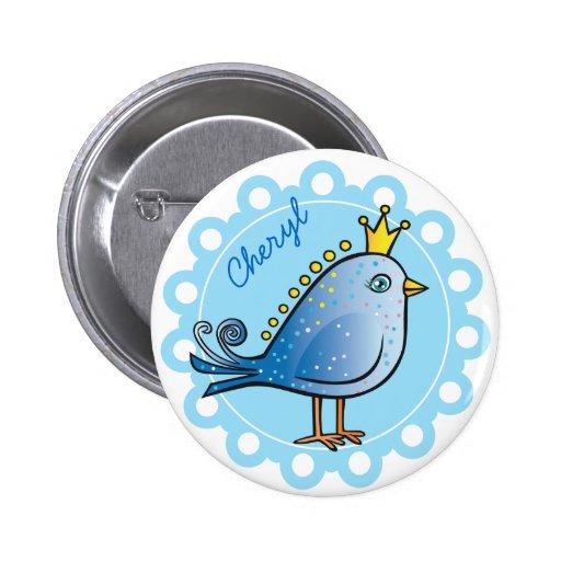 Botón azul del pájaro pins