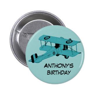 botón azul del perno del cumpleaños del biplano pin redondo de 2 pulgadas