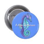 Botón azul del Seahorse Pin Redondo De 2 Pulgadas