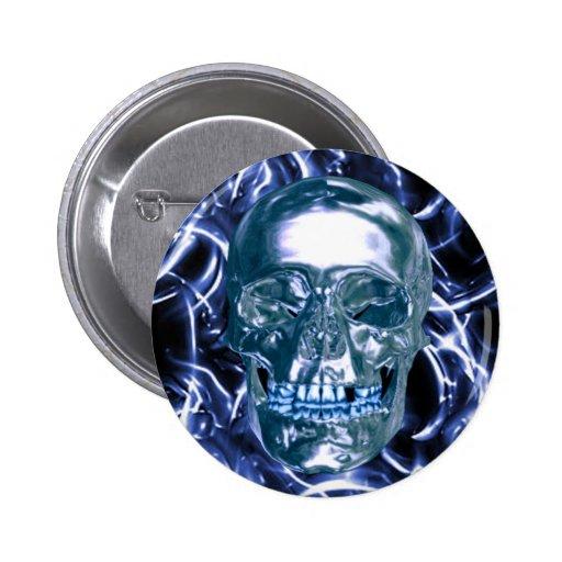 Botón azul eléctrico del cráneo del cromo pins