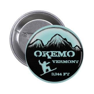 Botón azul gris del arte de la snowboard de Okemo  Pin Redondo De 2 Pulgadas