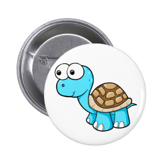Botón azul lindo de la tortuga pin redondo de 2 pulgadas