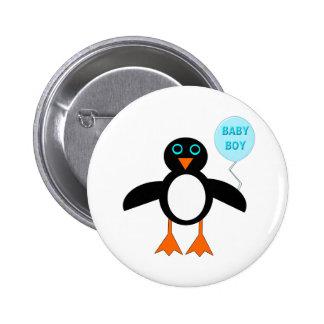 Botón azul lindo del pingüino del bebé pin redondo de 2 pulgadas