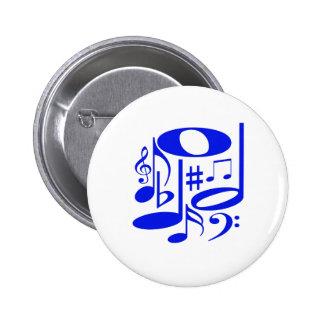 Botón azul musical pin redondo de 2 pulgadas