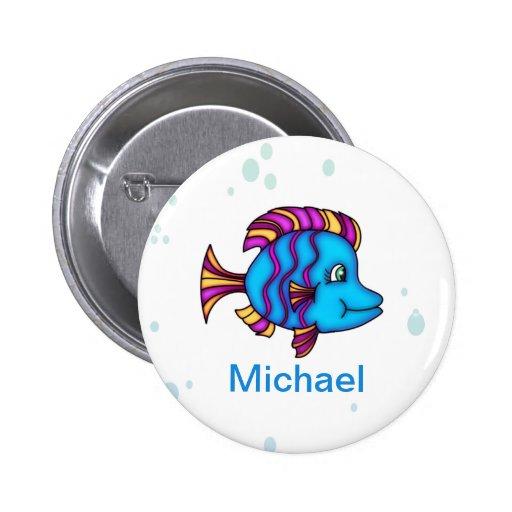Botón azul personalizado de los pescados pin