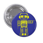 Botón (azul) retro del instinto del robot pin
