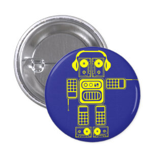 Botón (azul) retro del instinto del robot pin redondo de 1 pulgada