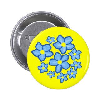Botón azul y amarillo de las flores pin