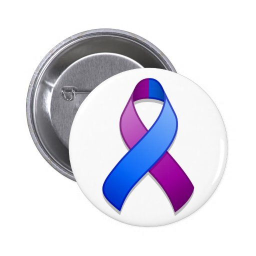Botón azul y púrpura de la cinta de la conciencia