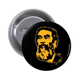 Botón barbudo del retrato de Saddam Hussein Pin Redondo De 2 Pulgadas