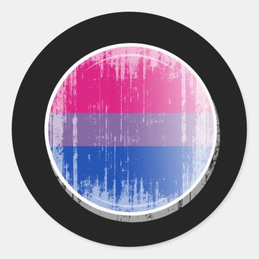 Botón bisexual distressed.png de la bandera etiquetas redondas
