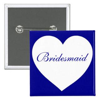 Botón blanco azul adaptable de la dama de honor pin cuadrado