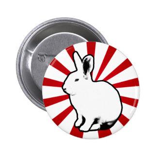 Botón blanco de la raya del caramelo del conejo de pin redondo de 2 pulgadas