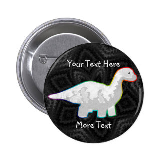 Botón blanco de Rainbowed Dino Pin Redondo De 2 Pulgadas