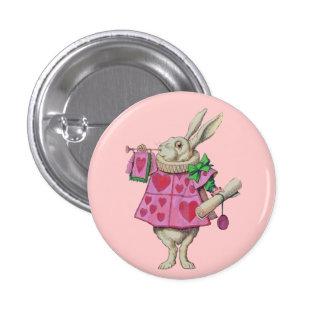 Botón blanco del conejo (en rosa) pin redondo de 1 pulgada