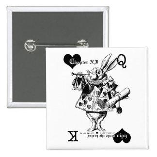Botón blanco del conejo pin cuadrado