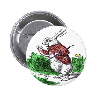 Botón blanco del conejo pin redondo de 2 pulgadas