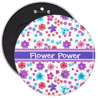 Botón blanco del flower power del fondo pin redondo de 6 pulgadas