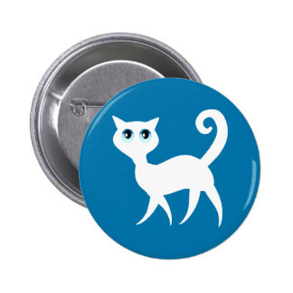 Botón blanco del gato pin redondo de 2 pulgadas