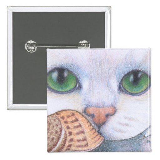botón blanco del gato y del caracol pin
