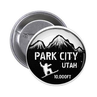 Botón blanco negro del arte de la snowboard de Par Pin Redondo De 2 Pulgadas