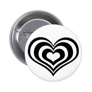Botón blanco negro del corazón de n pin redondo de 2 pulgadas