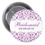 Botón blanco púrpura de la dama de honor de la pin redondo de 3 pulgadas